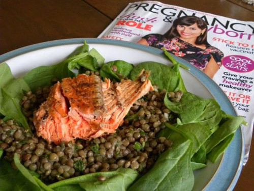 Salmon on Lentil Salad