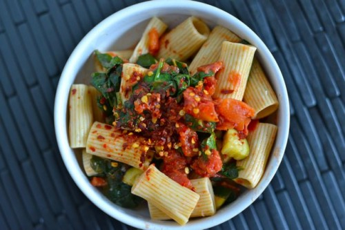 Weeknight Pasta with Tomatoes, Zucchini, and Kale
